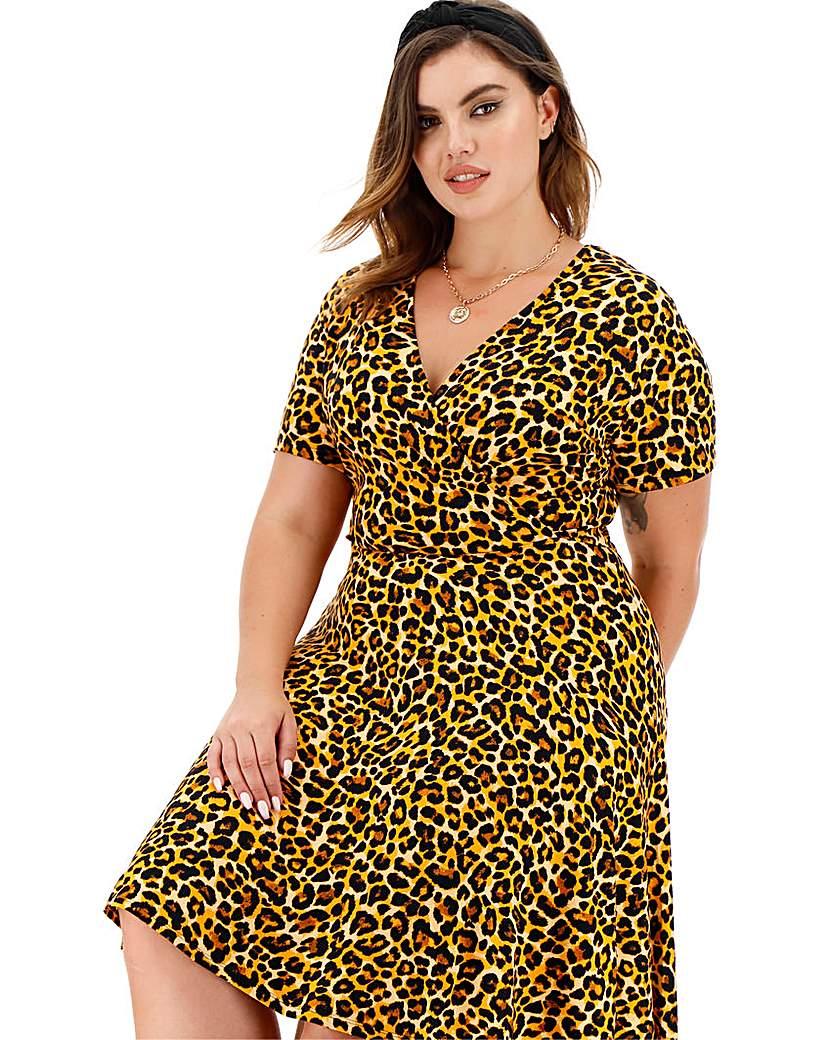 Simply Be Animal Print Jersey Wrap Skater Dress