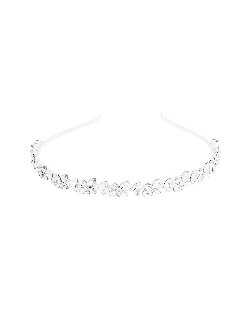 Silver Plated Crystal Cluster Headband