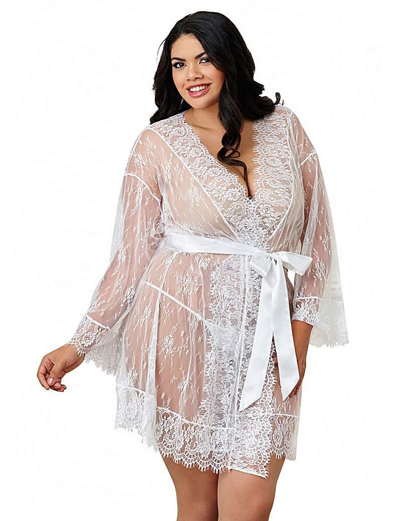 Dreamgirl Romantic White Kimono Robe