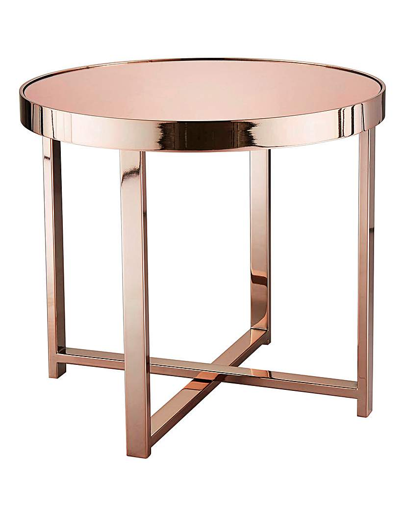Image of Ayla Rose Gold Mirrored Side Table