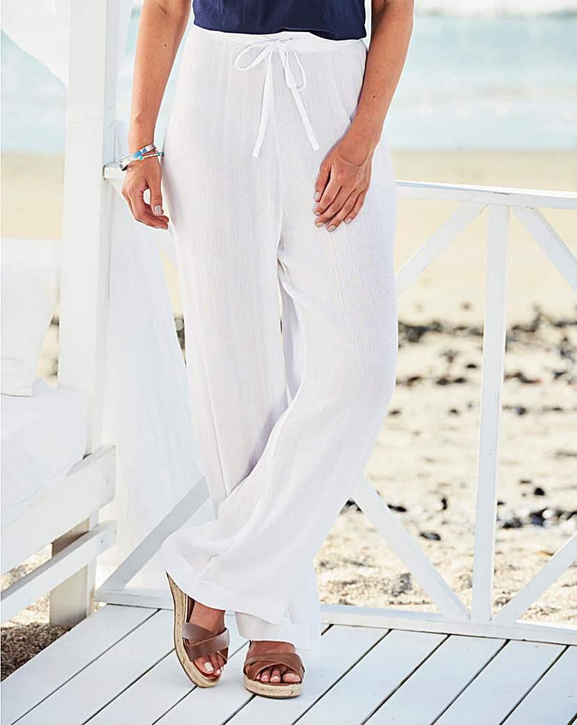 White Crinkle Drawstring Trouser