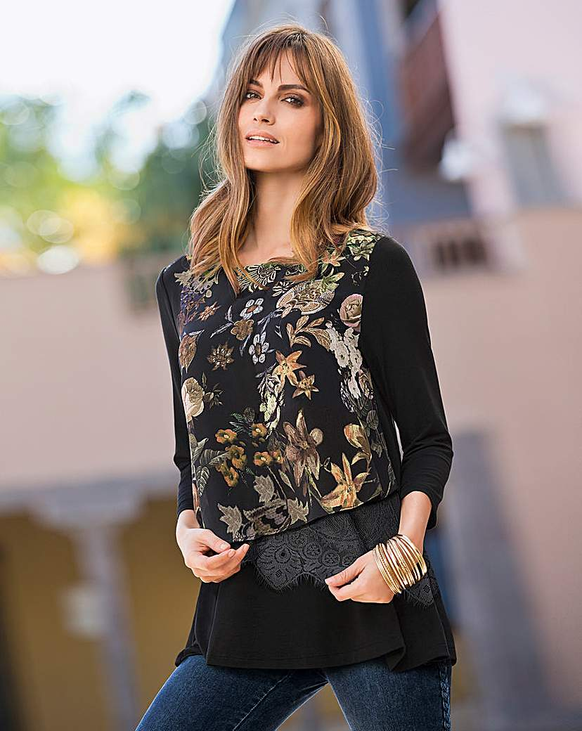 Together Jersey Print Layered Top