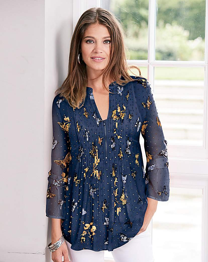 Together Butterfly Lurex Print Blouse