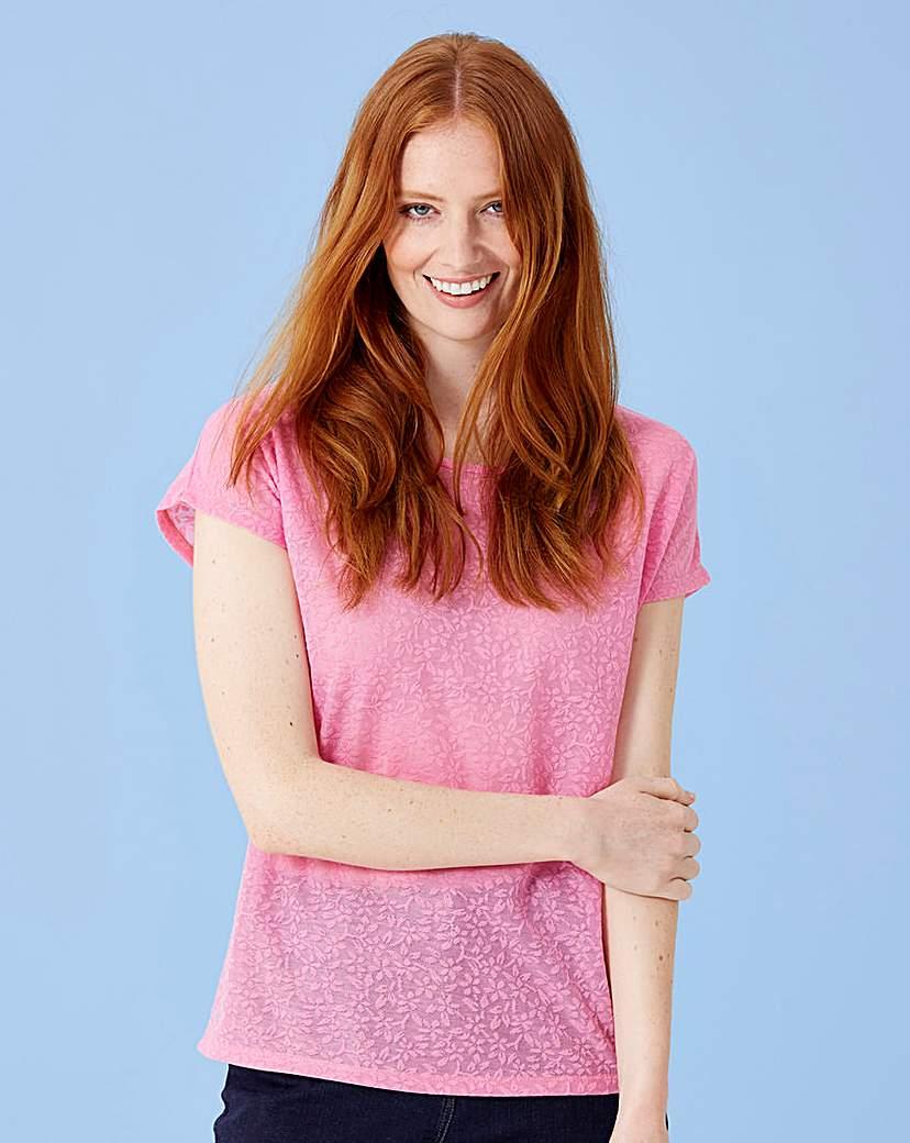 Sugar Pink Floral Jacquard Tshirt