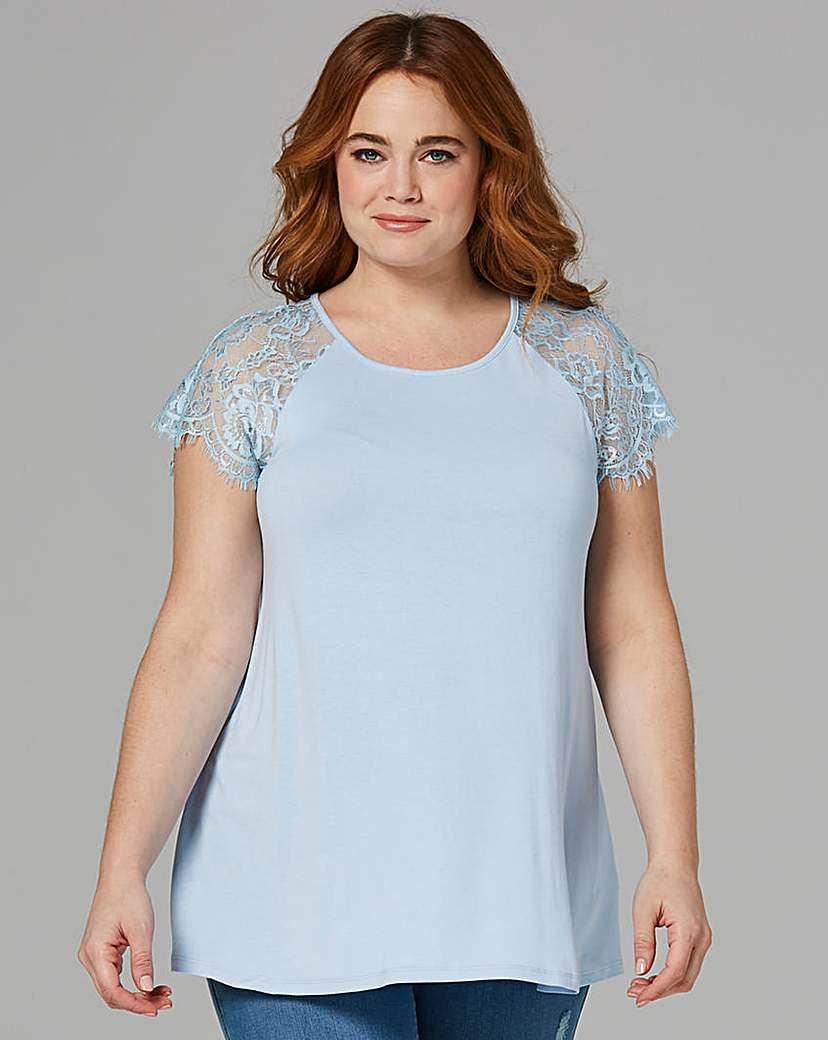 Simply Be Blue Lace Sleeve Swing Top