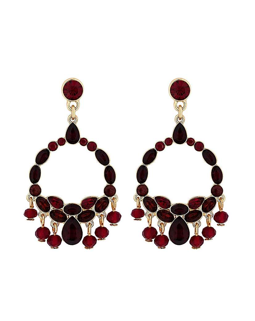 Gold Plated Red Jangle Drop Earrings