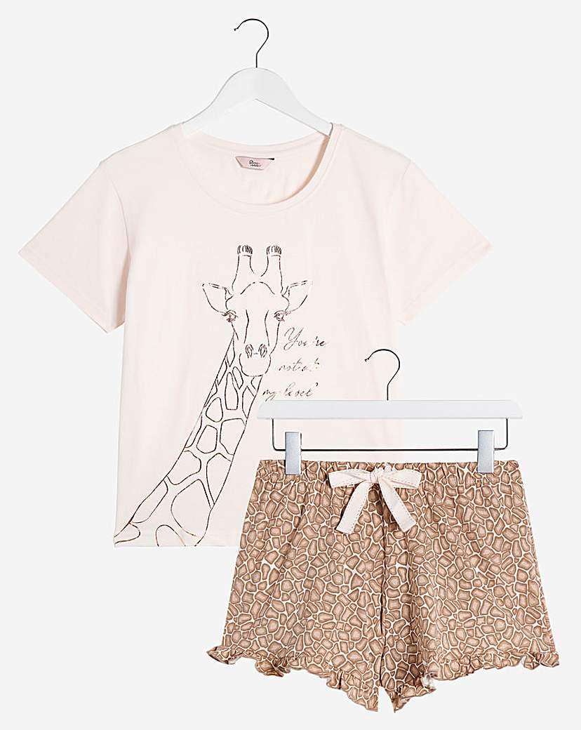 Boux Avenue Boux Avenue Giraffe T and Shorts PJ Set