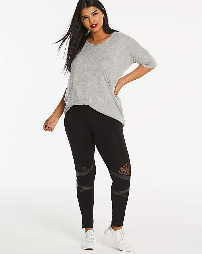 Lace & PU Panel Jersey Leggings
