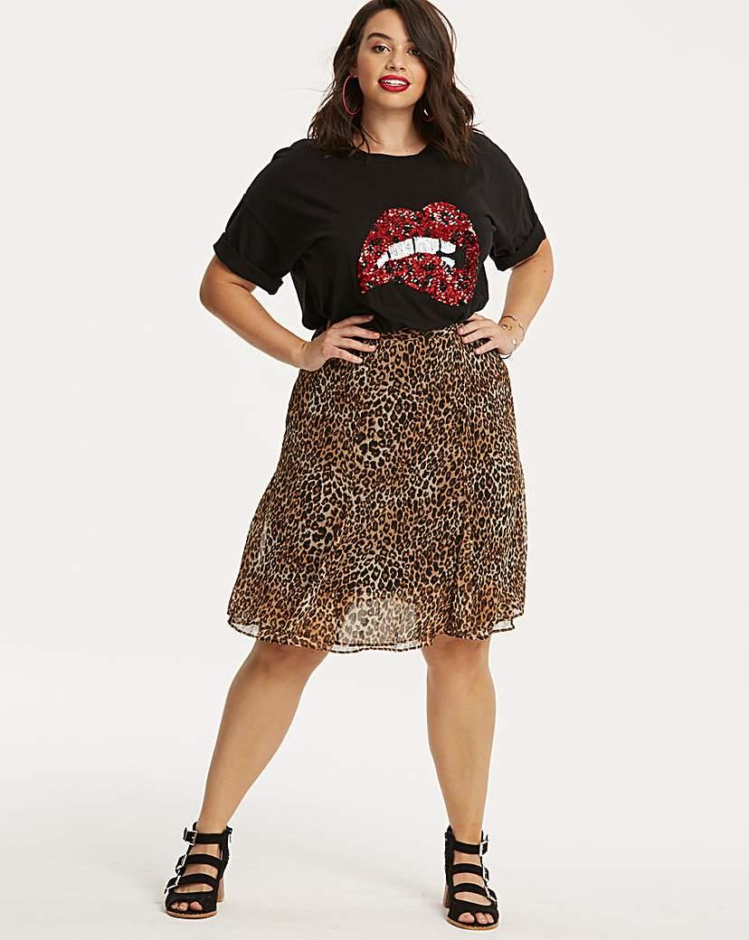 Simply Be Leopard Animal Print Flippy Hem Skirt