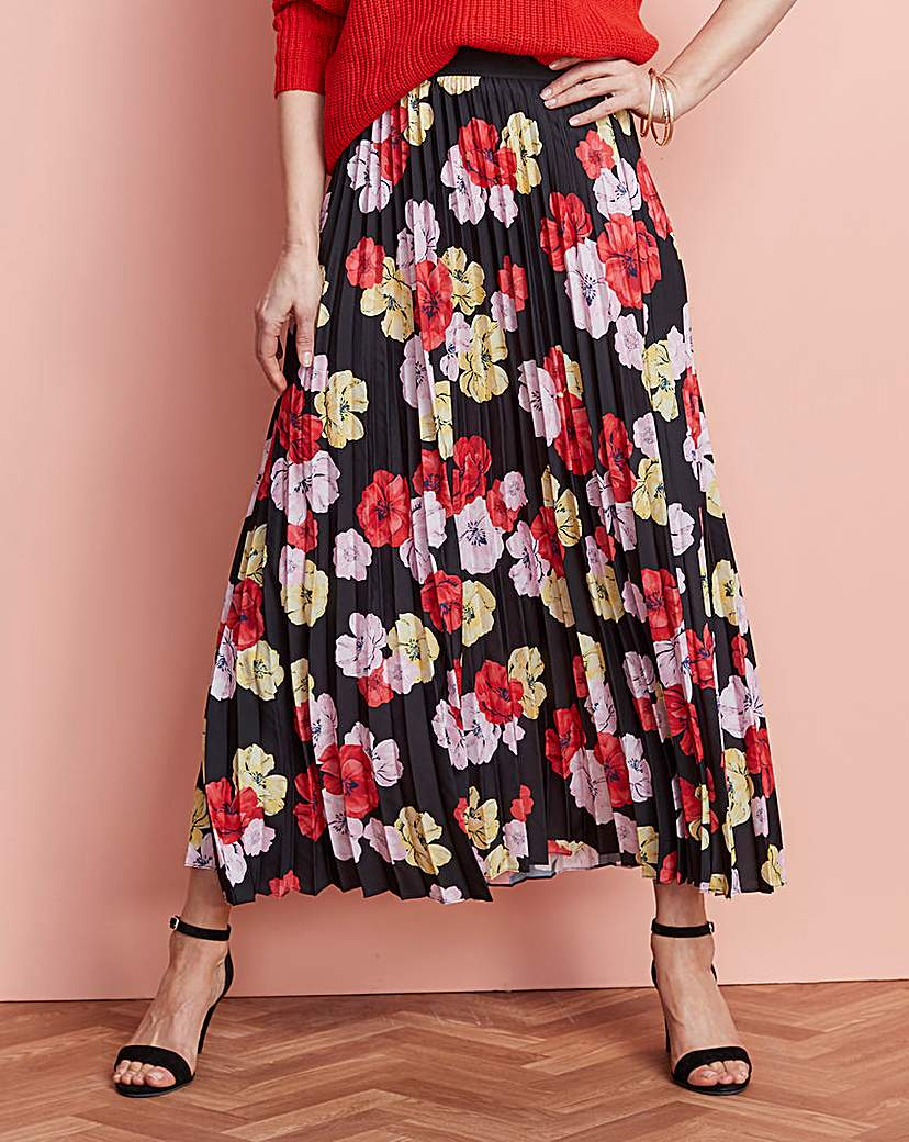 Simply Be Floral Print Pleat Maxi Skirt