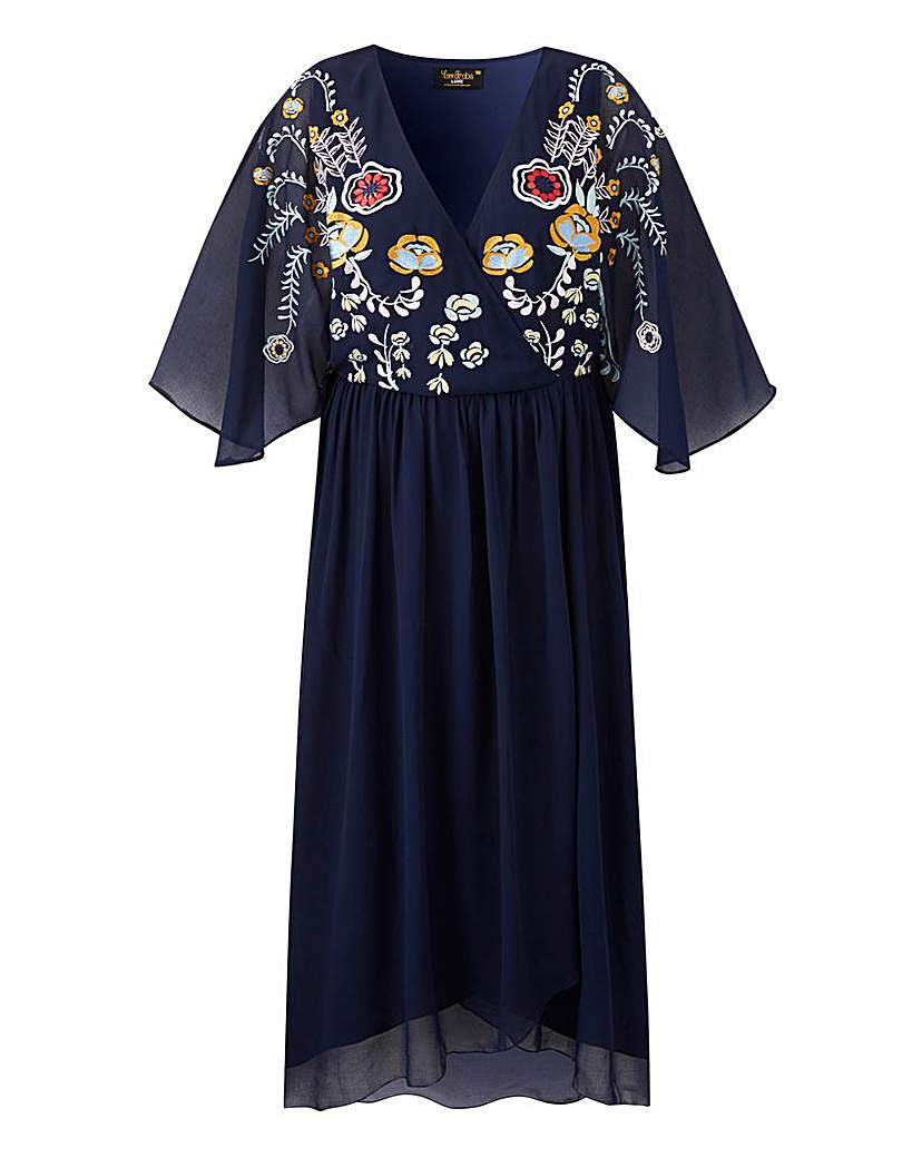 Vintage Inspired Dresses & Clothing UK Lovedrobe Embroidered Cape Dress £59.00 AT vintagedancer.com