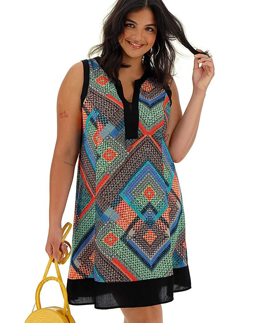 Apricot Apricot Geo Print Sleeveless Dress