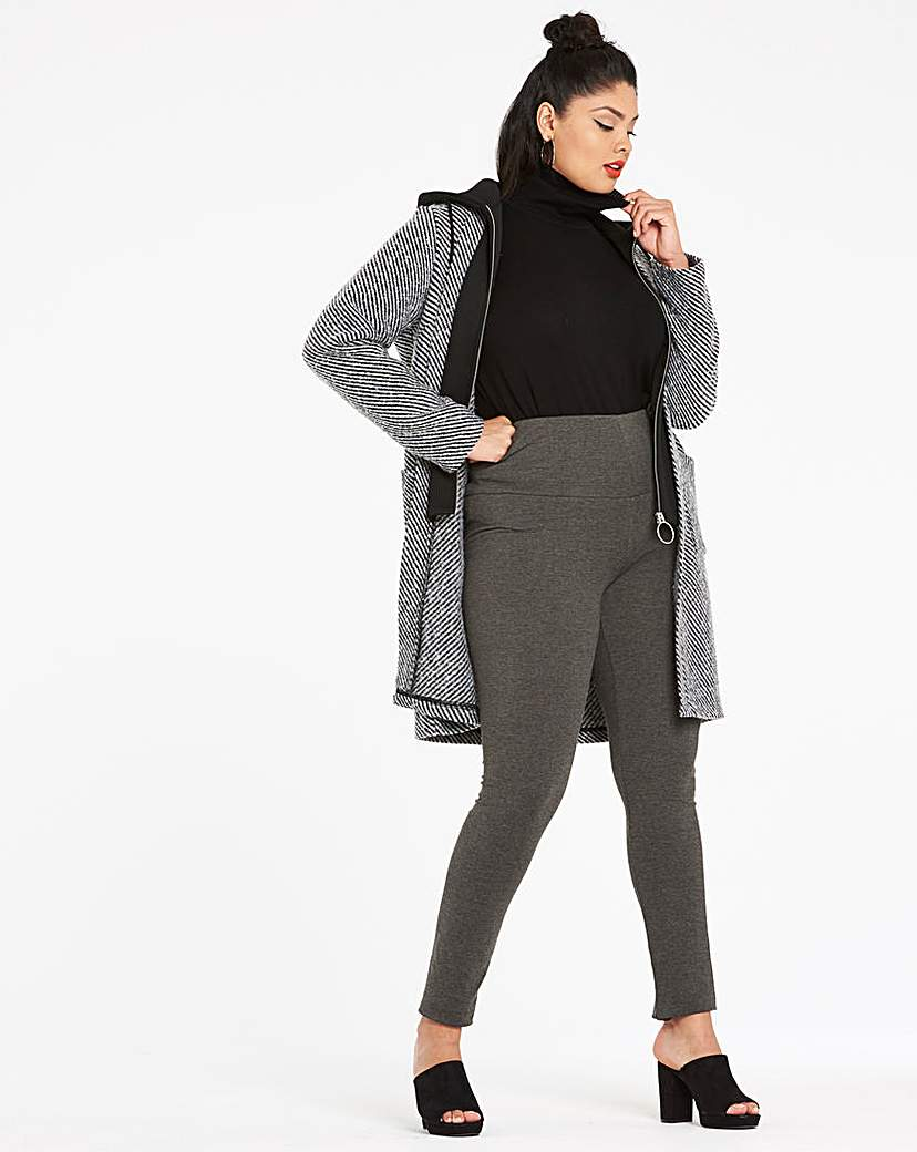 Simply Be Wool Look Coat With Mock Knit Placket