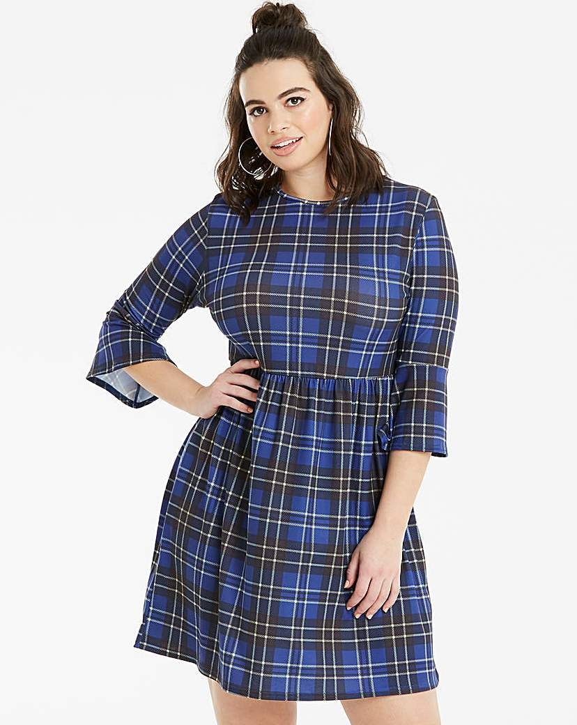 Lasula Blue Tartan Smock Dress