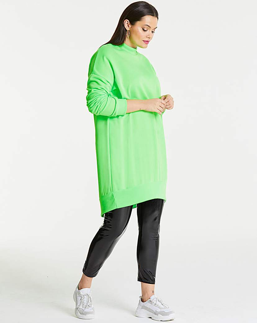 AX Paris AX Paris Neon Green Plain Jumper Dress