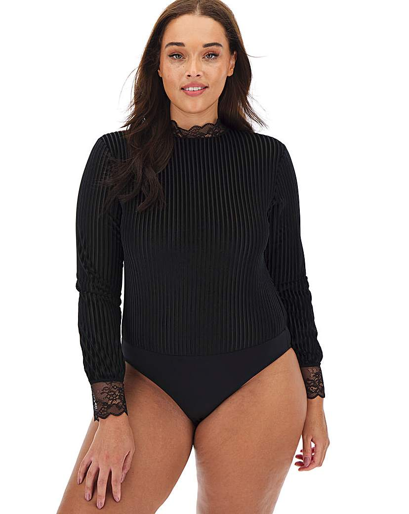 Simply Be Black Striped Velour Body