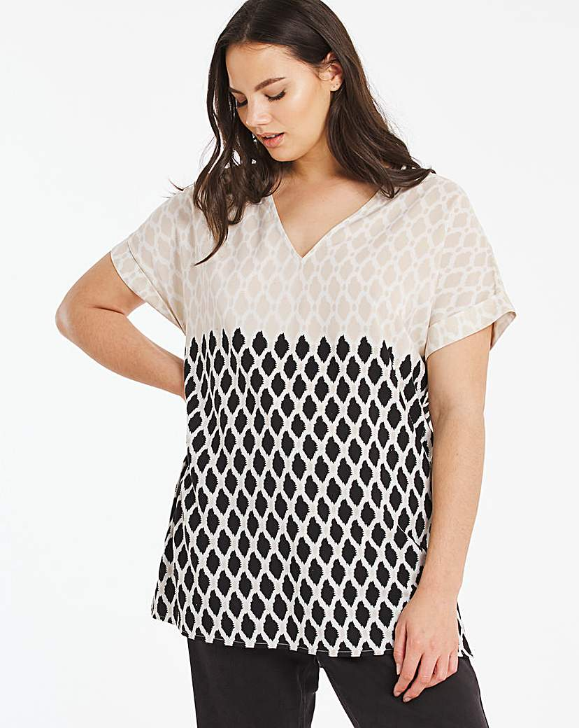 Capsule Printed V Neck Button Side Tunic