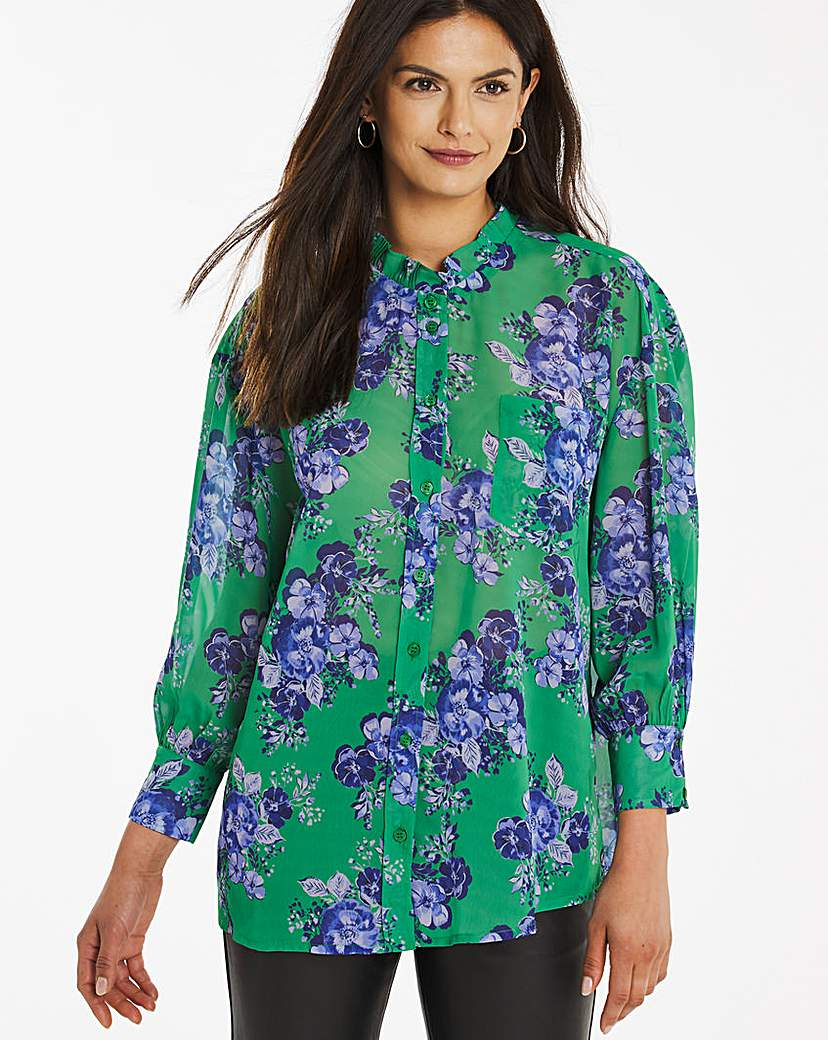 Green Floral Slouchy Shirt