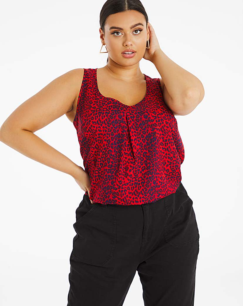 Capsule Red Animal Print Woven Vest