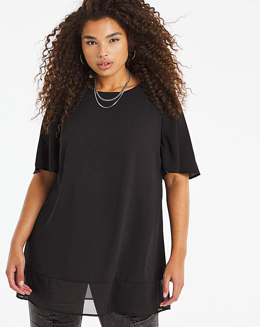 Capsule Black Sheer Hem Oversized Top