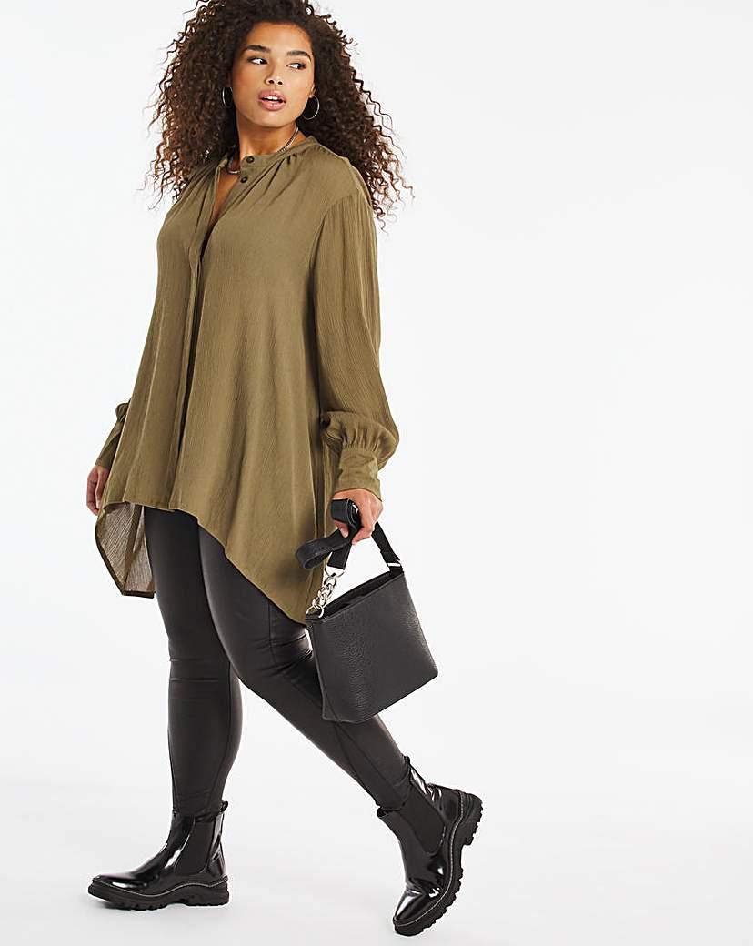 Capsule Khaki Dip Back Crinkle Shirt