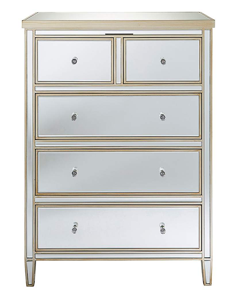 At Home Luxe Perla Assembled Mirror 3+2 Drawer Chest