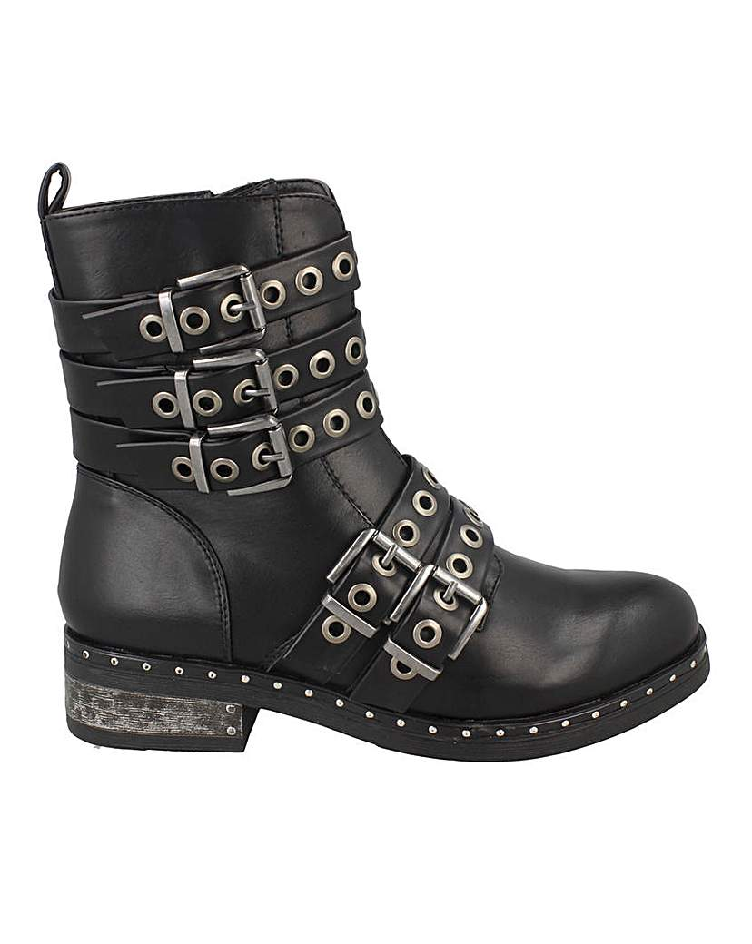 Simply Be Buckled Biker Boot Standard Fit