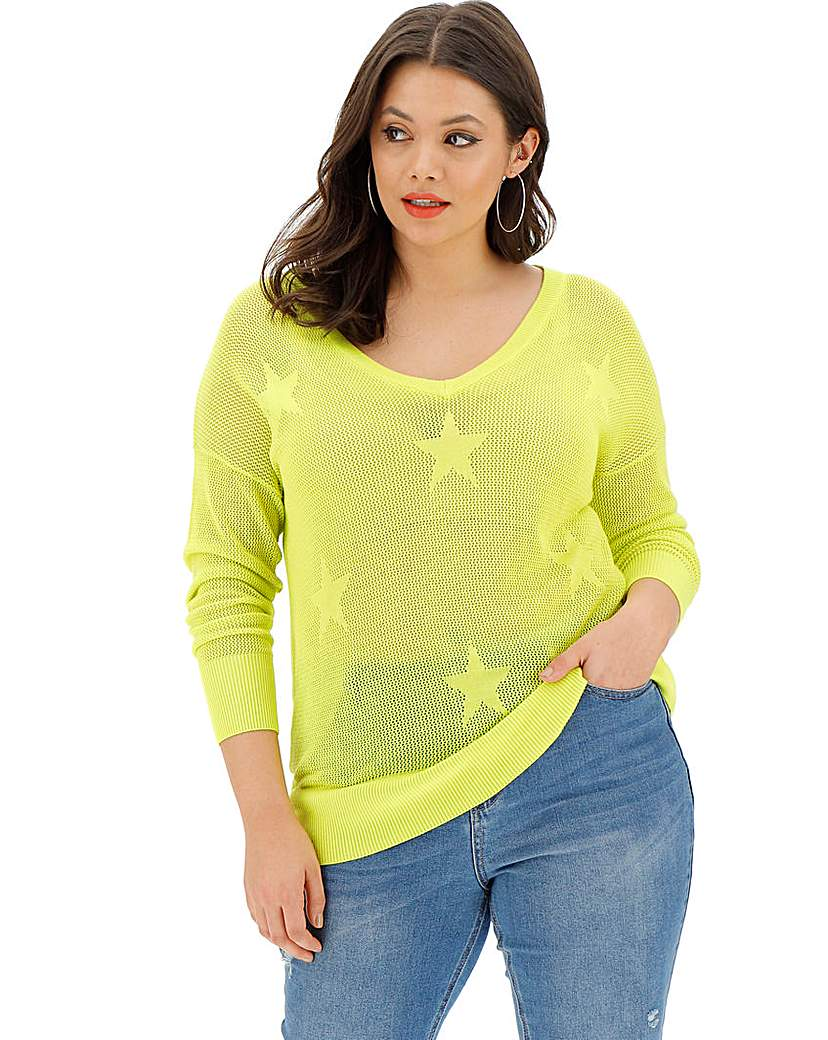 Simply Be Lime Star Detail Pointelle Jumper