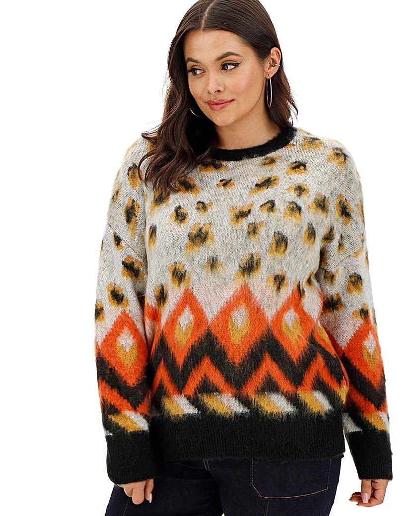 Simply Be Brushed Leopard Jumper
