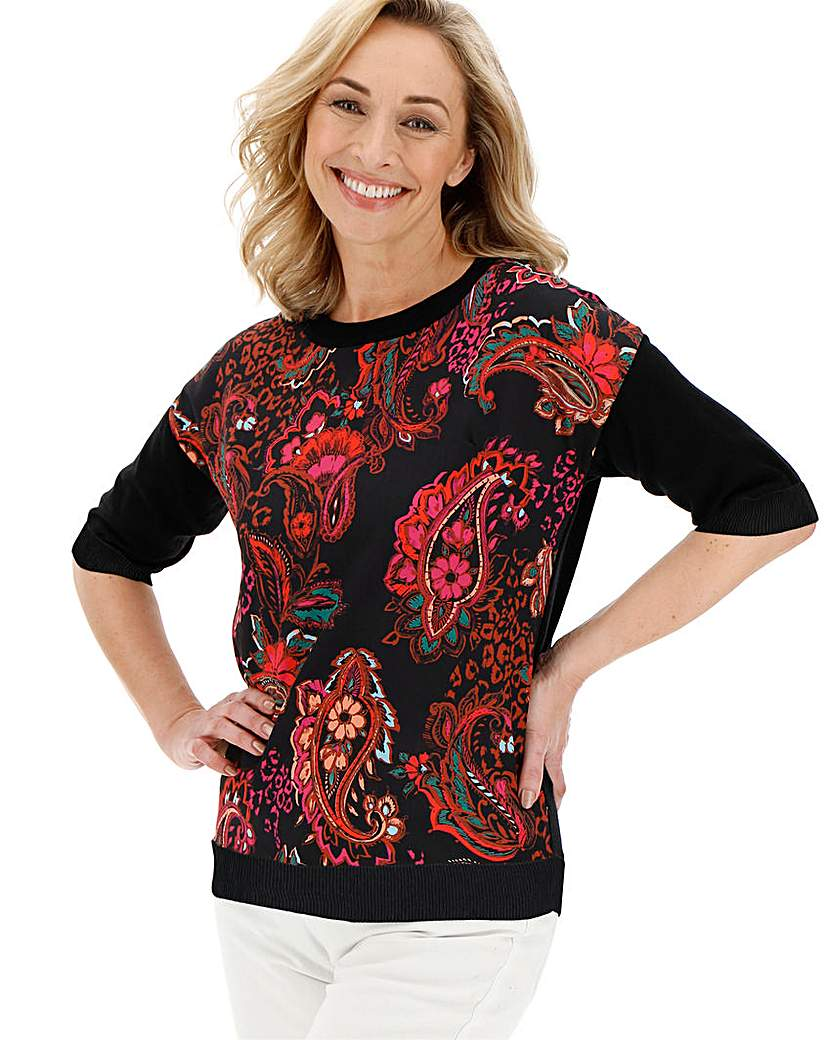 Black Print Woven Front Jumper