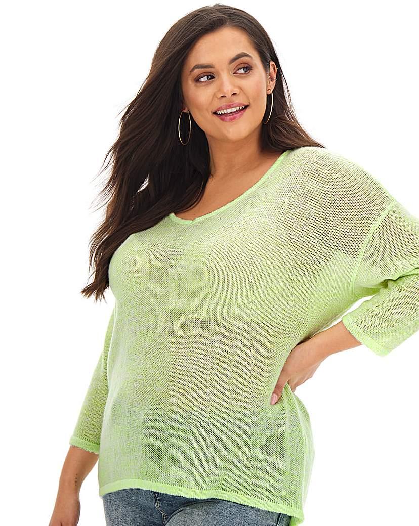 Simply Be Lime Fine Knit V Neck Jumper