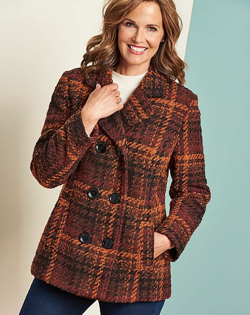 70s Jackets & Hippie Vests, Ponchos Check Double Breasted Coat £48.00 AT vintagedancer.com