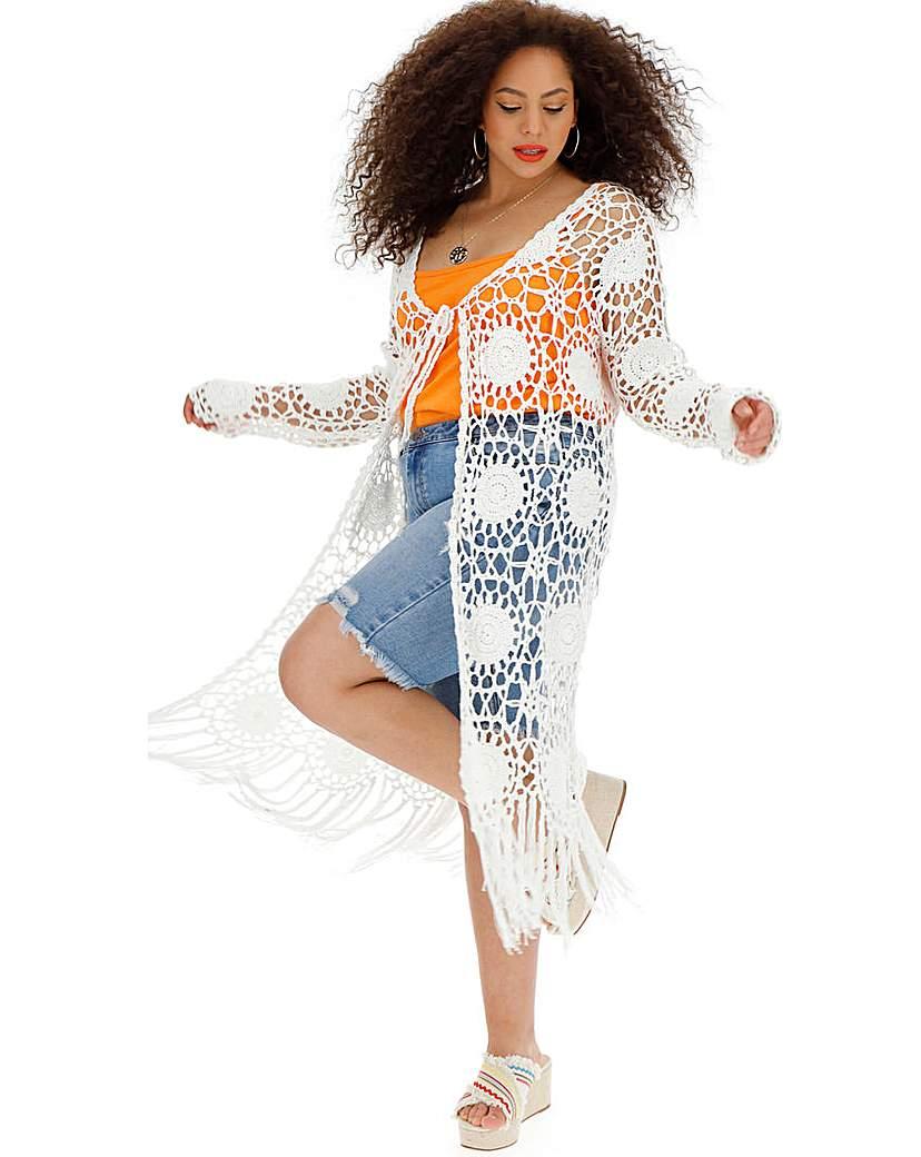 Simply Be White Crochet Cardigan