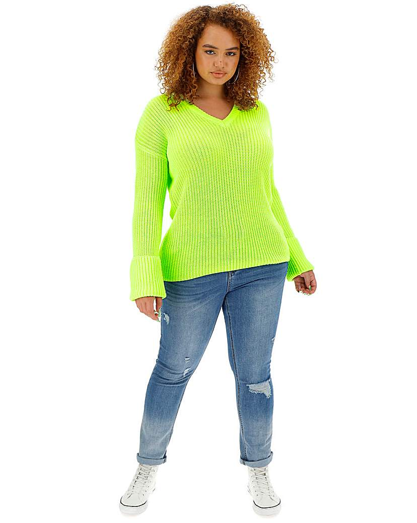 Simply Be Neon Lime Turn Back Cuff Boxy Jumper