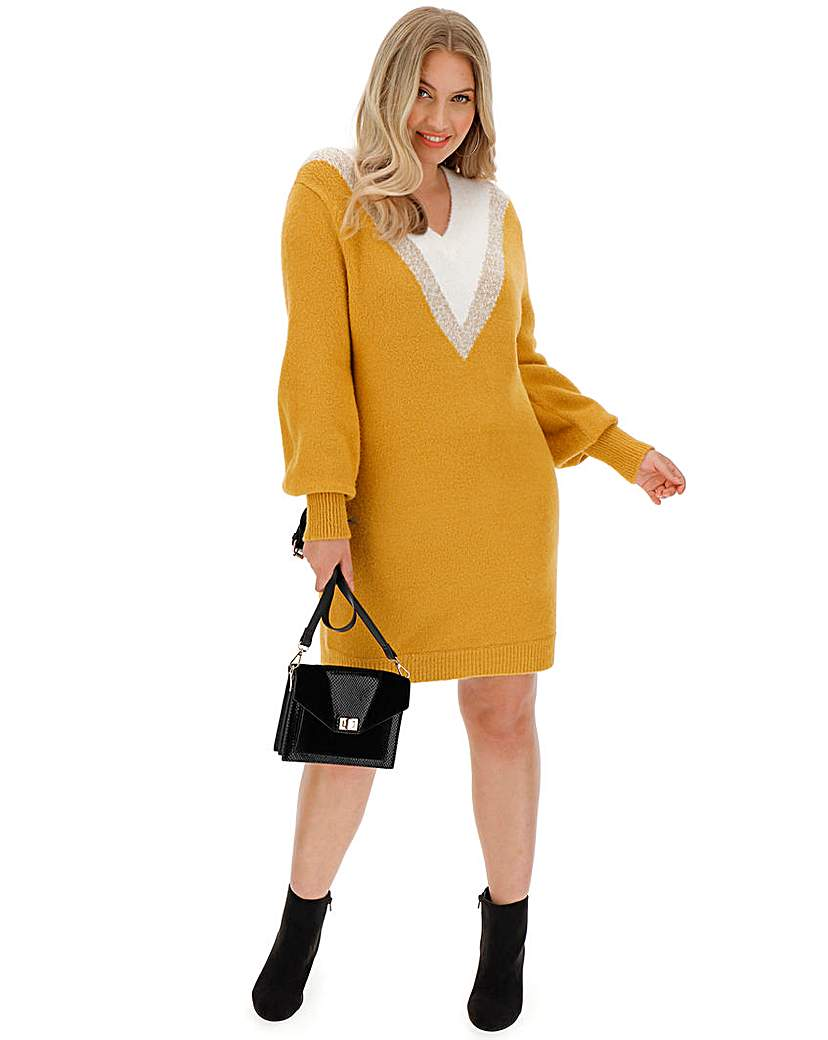 Capsule Cosy Chevron V Neck Sweater Dress