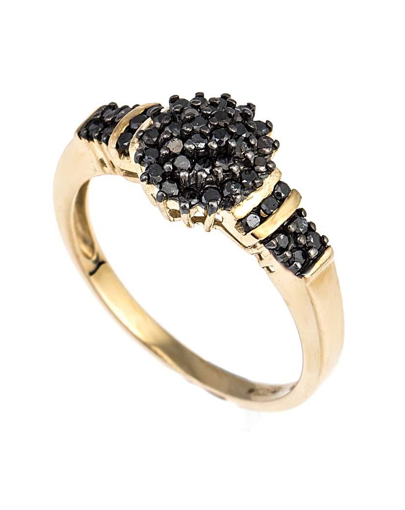 Simply Be 9ct YG Black Diamond Cluster Ring