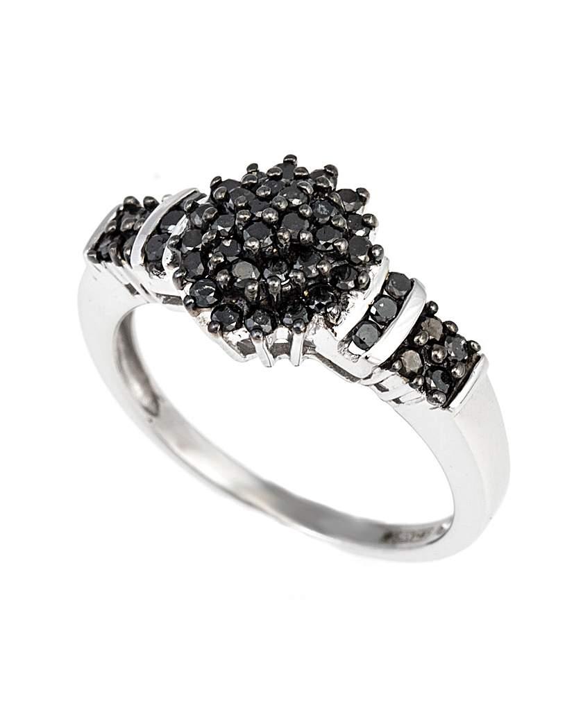 Simply Be 9ct WG Black Diamond Cluster Ring