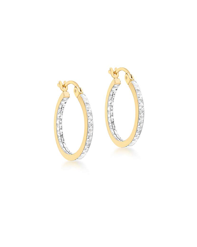 Image of 9Ct Gold Two Tone Square Tube Earrings