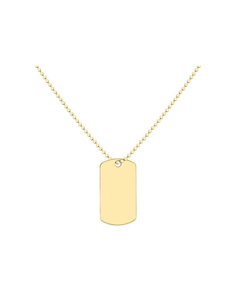 Simply Be 9Ct Gold Dogtag Necklace On Ball Chain