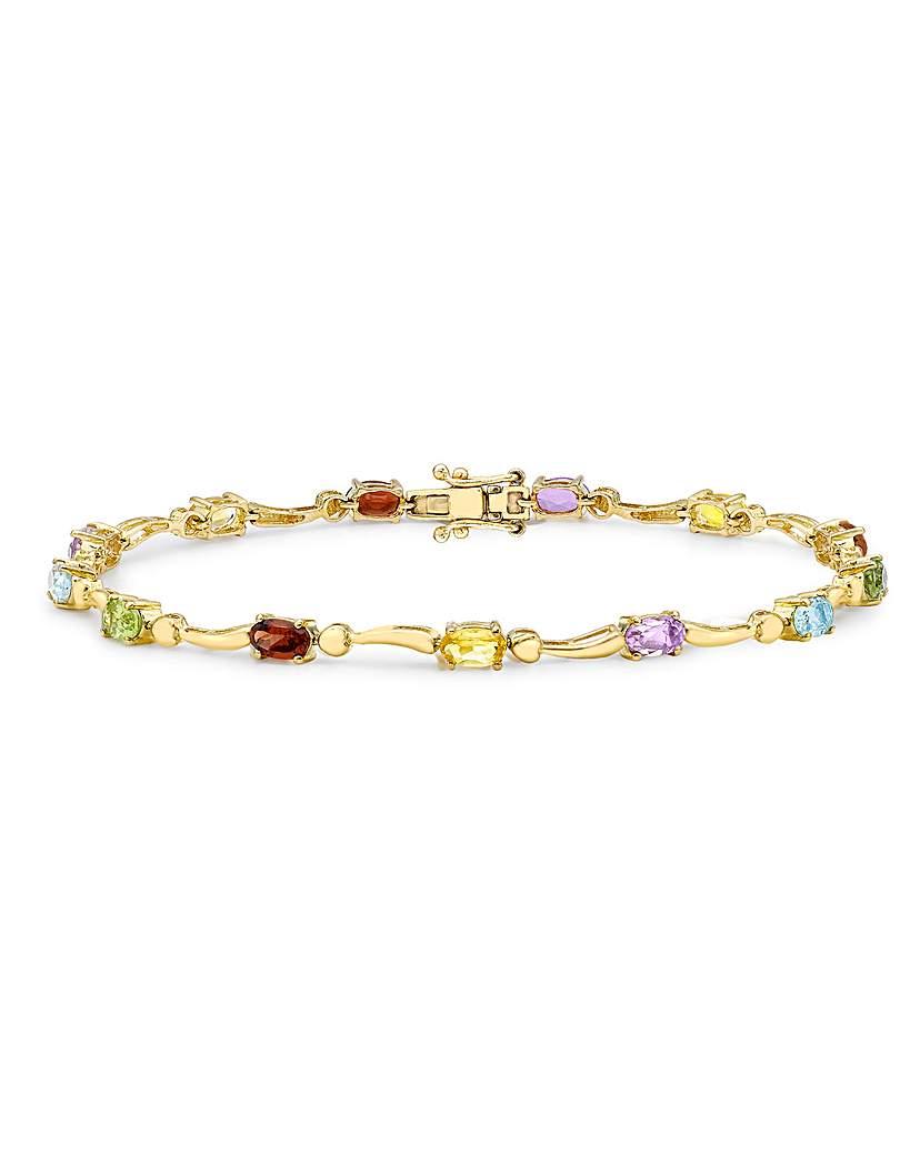 Simply Be 9Ct Gold Rainbow Stone Wave Bracelet