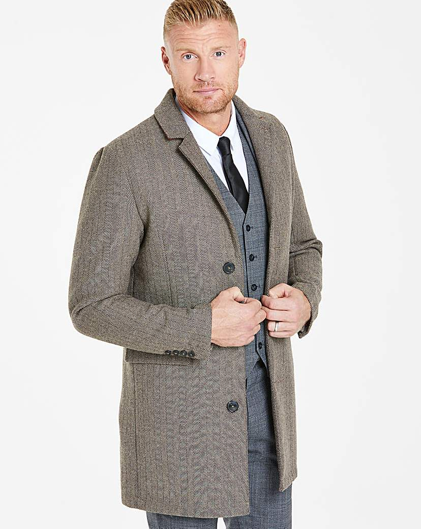 Retro Clothing for Men | Vintage Men's Fashion Herringbone Coat R £48.00 AT vintagedancer.com