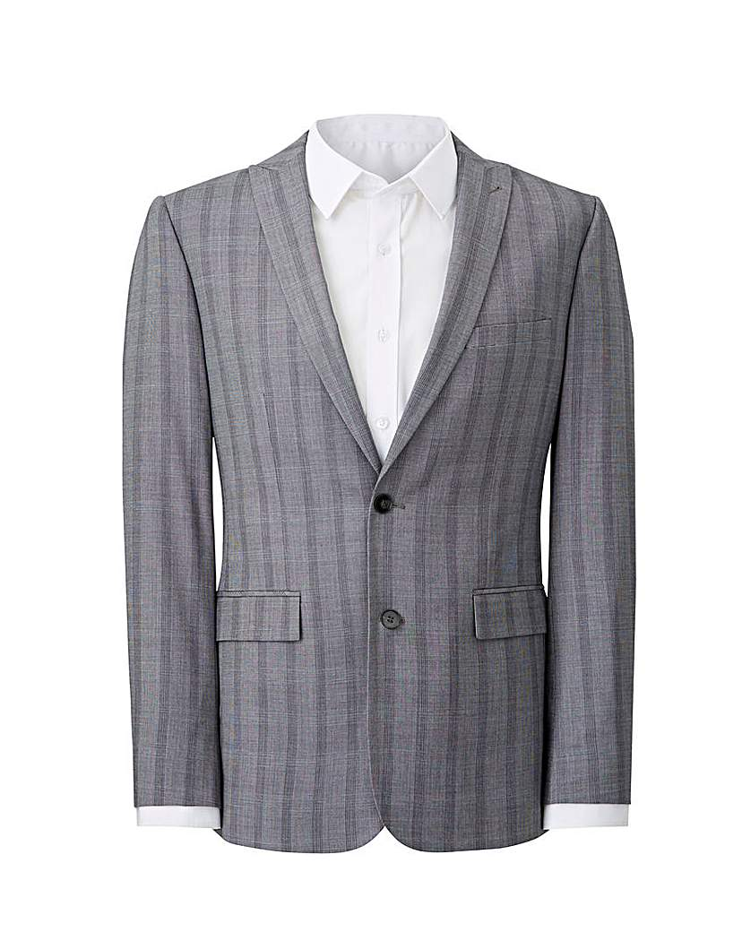 Image of Grey Slim Stretch Checked Jacket L