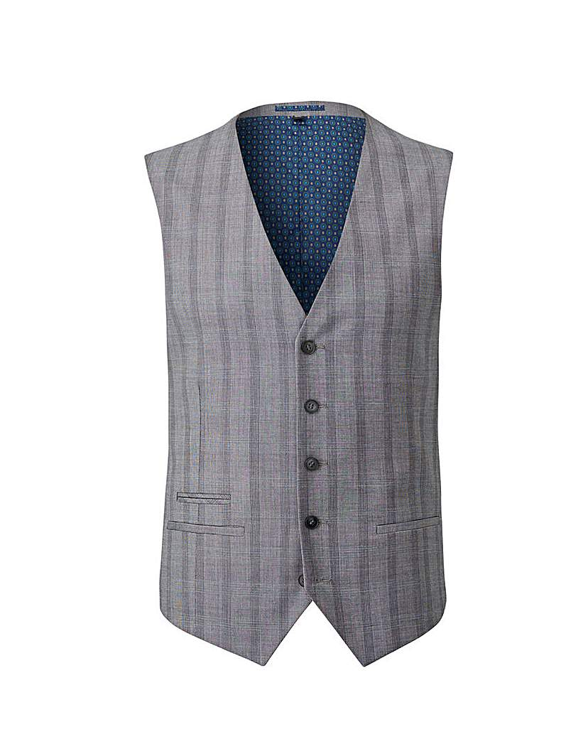 Image of Grey Slim Stretch Checked Waistcoat R