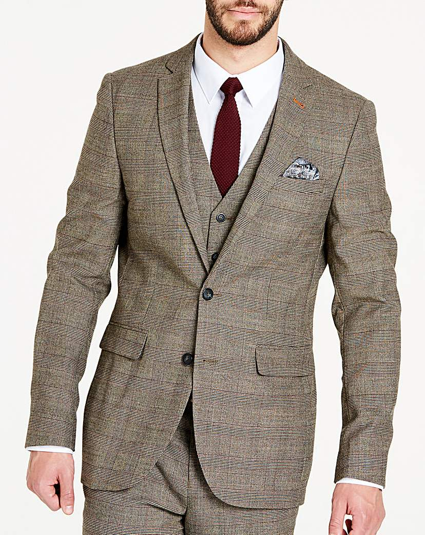 Image of Brown Wool Checked Slim Jacket L