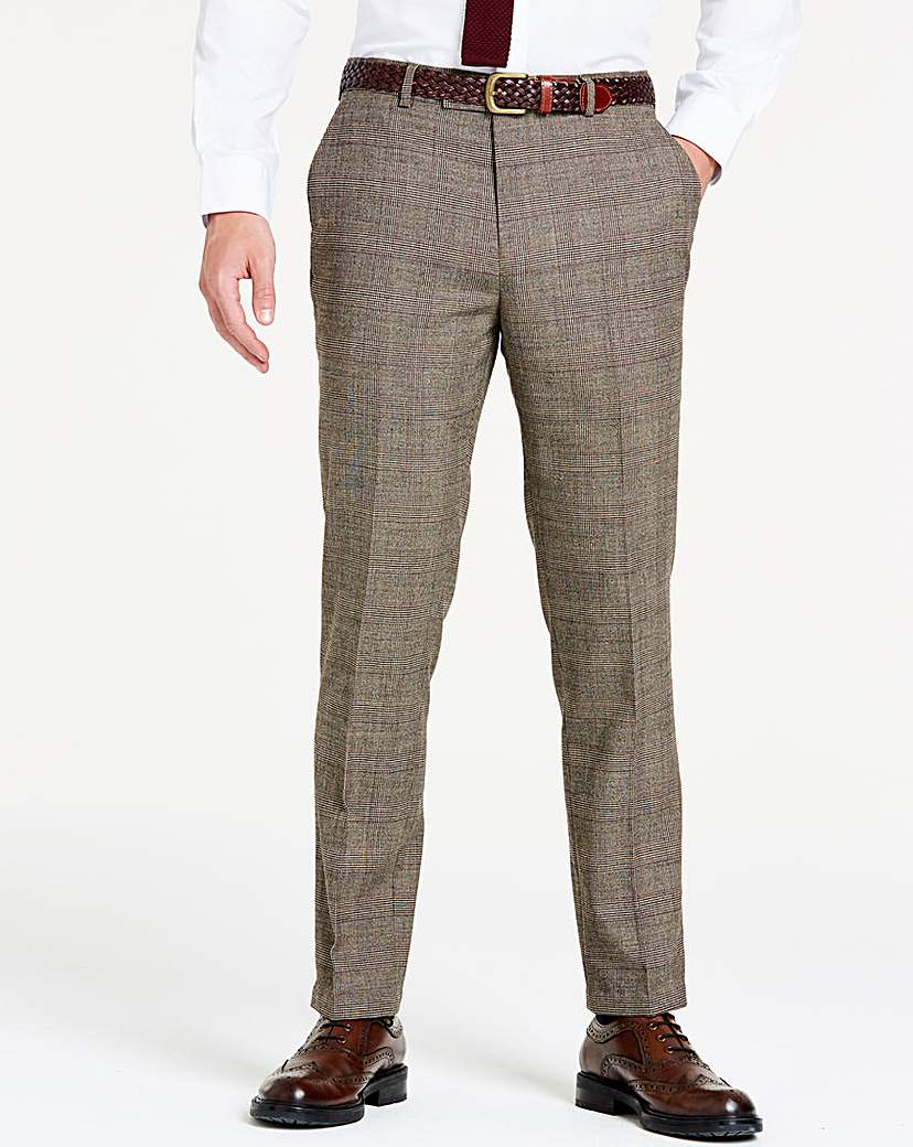 Image of Brown Wool Checked Slim Trousers R