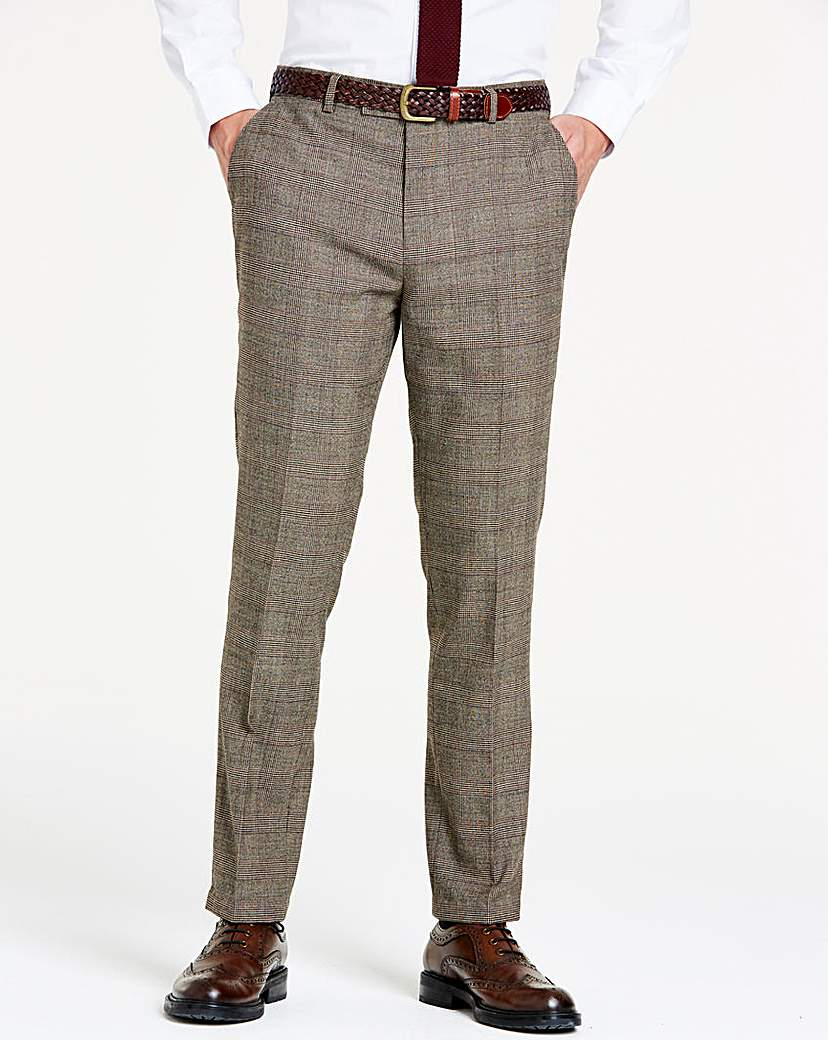 Image of Brown Wool Checked Slim Trousers L