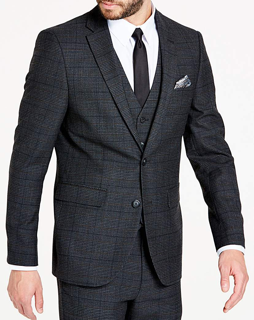 Image of Charcoal Wool Checked Slim Jacket R