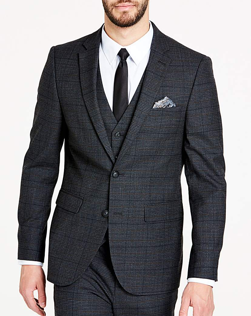 Image of Charcoal Wool Checked Slim Jacket L