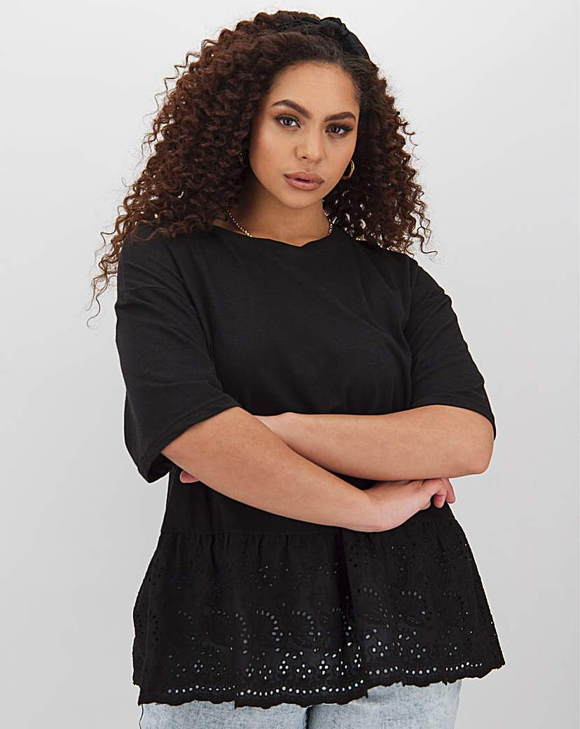 Simply Be Black Broderie Peplum Hem T-Shirt
