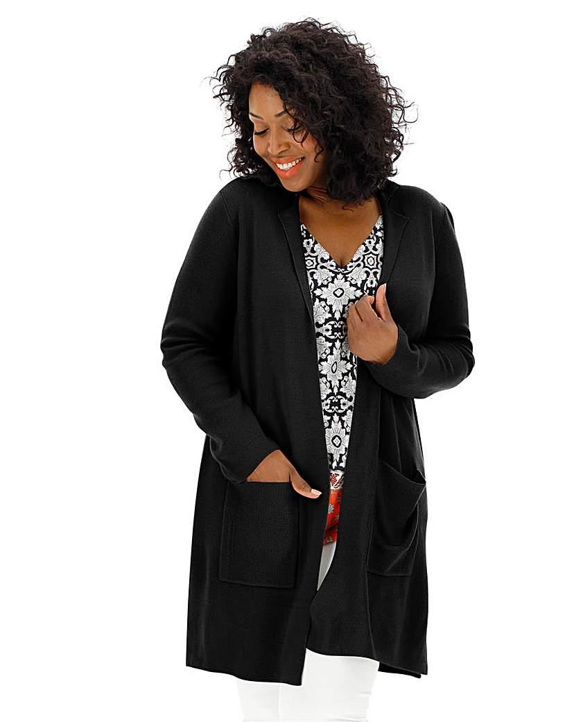 1920s Coats, Flapper Coats, 20s Jackets Black Smart Knitted Coatigan £35.00 AT vintagedancer.com
